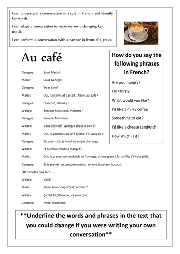 Key Stage 2 and 3 'Au cafe' Simple Cafe Conversation and Comprehension  Worksheet