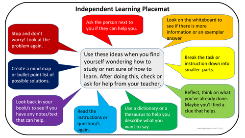 Placemat - Independent Learning