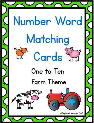 Number Word Matching Cards with a Farm Theme