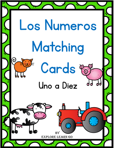 Los Numeros Matching Cards