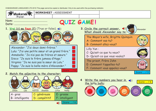 FRENCH-AT SCHOOL- ASSESSMENT- Quiz Test -Key Stage 2 - YEAR 5/6