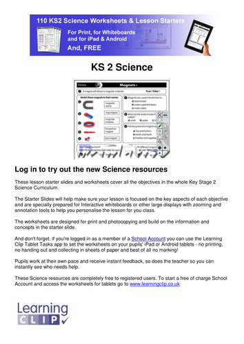 110 KS2 FREE Science Worksheets and Lesson Starters - for Print ...