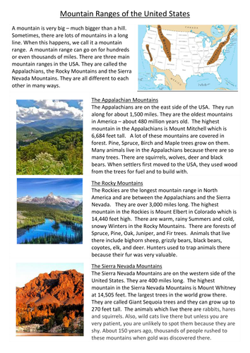 Mountain Ranges of the USA by kerril | Teaching Resources