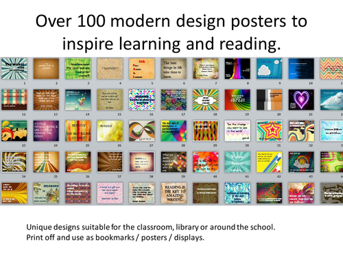 100 + reading and learning posters