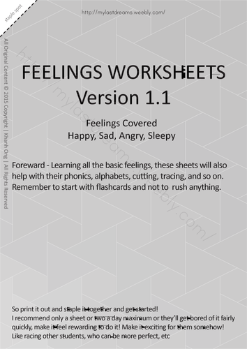 MLD - Basic Feeling Worksheets - Full Set - A4 Sized