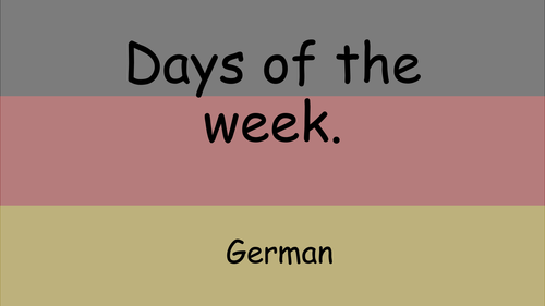 German days of the week power point and worksheet