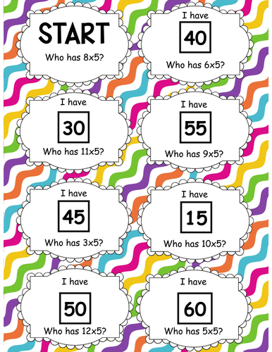 5 Times Table Follow Me Cards