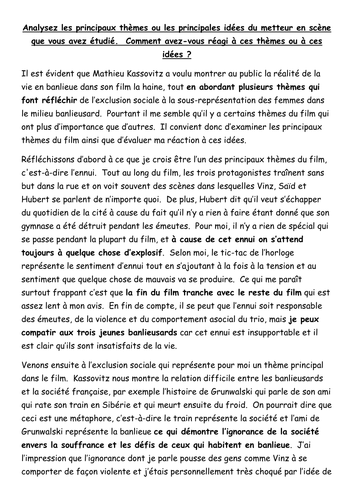 a level french la haine french model essay main themes of film a level french la haine french model essay main themes of film director and reaction by paul 1982 teaching resources tes