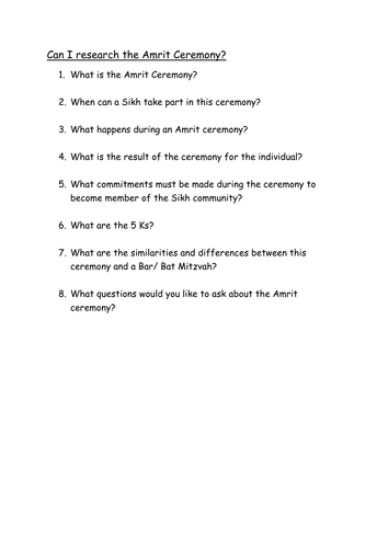 Amrit Ceremony Questions by Brentt - Teaching Resources - Tes