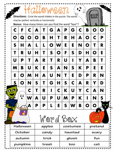 Halloween Word Search  - Easy and Hard versions