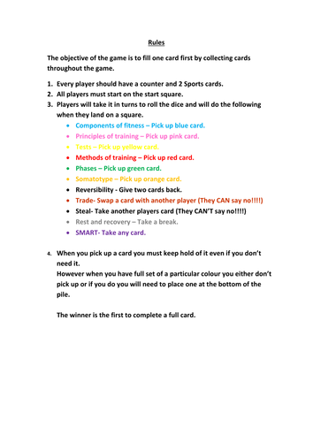 GCSE Physical Education Revision Game