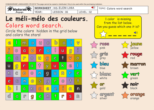 FRENCH-3RD/4TH GRADE-AT SCHOOL: Colors/ Les couleurs/ Colors word search