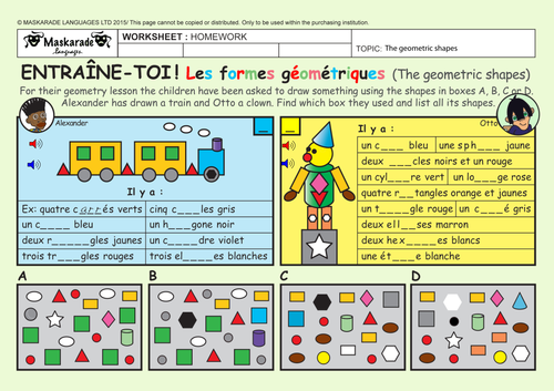 FRENCH-4TH/5TH GRADES- AT SCHOOL: Colors/ Les couleurs/ Geometric shapes/ Les formes géométriques