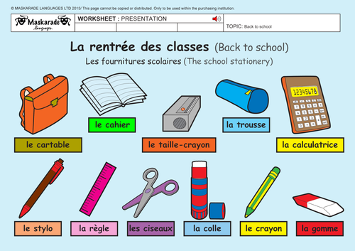 FRENCH-2ND/3RD GRADES- AT SCHOOL- School Stationery/ Numbers up to 20
