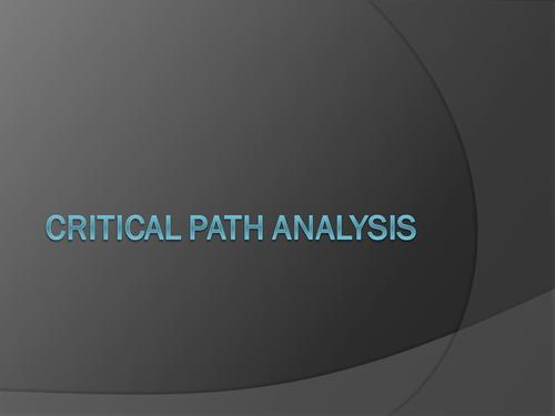Critical Path Analysis and PERT Charts