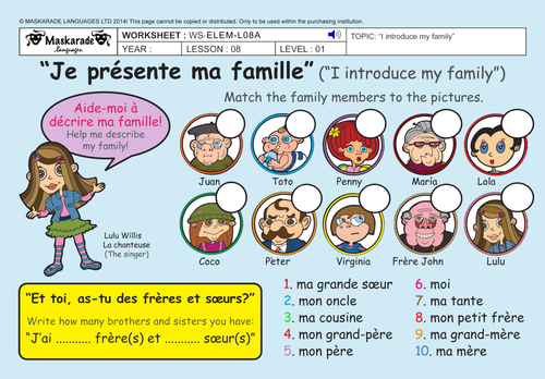 FRENCH - 2N/3RD GRADES - AT SCHOOL: My family/ Describing my family