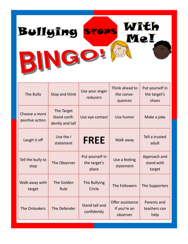 Bullying Stops With Me Bingo Game
