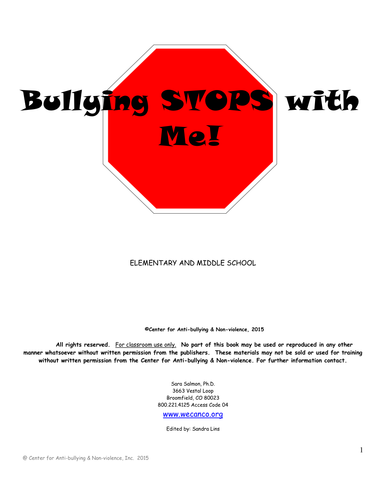 Elementary Bullying Stops With Me Curriculum