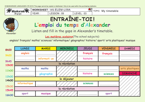 FRENCH - 4TH/5TH GRADES - AT SCHOOL:  My school subjects and timetable