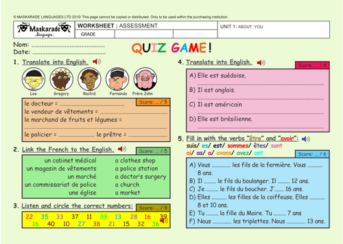 FRENCH - ABOUT YOU UNIT - ASSESSMENT - QUIZ TEST - 4TH TO 5TH GRADES
