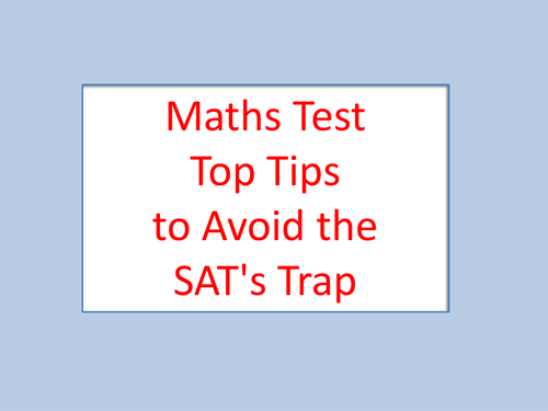 Sats Maths Y6 Top Tips Test Booster 2014
