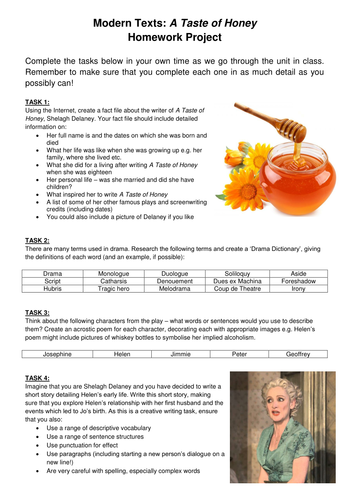 A Taste of Honey Unit for 2017 GCSE (33 Lessons) - SOW, PPT, Homework, Resources, Mock Exams!
