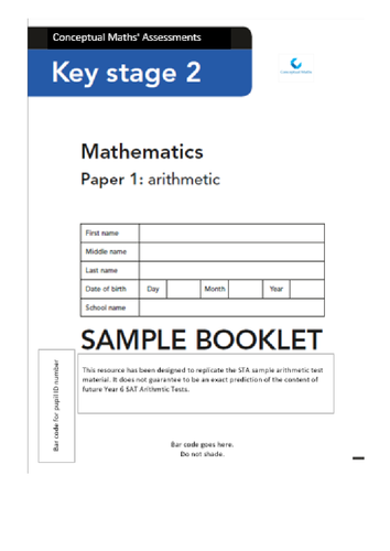 SATs 2016 Arithmetic Test Papers x10 (numbers 1-10)