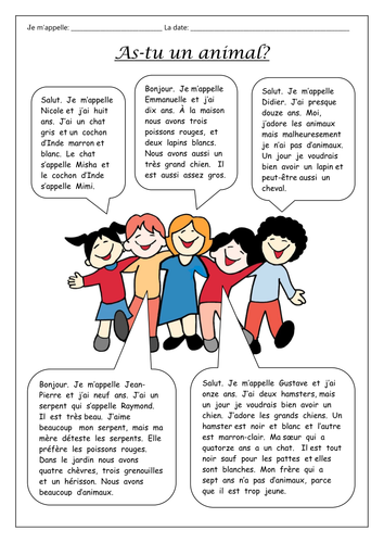 FRENCH  - Animals - As-tu un animal? - Worksheets
