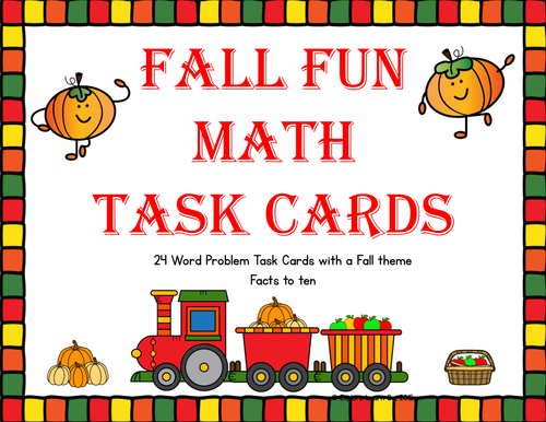 Fall Fun Math Task Cards for Addition and Subtraction Facts to Ten