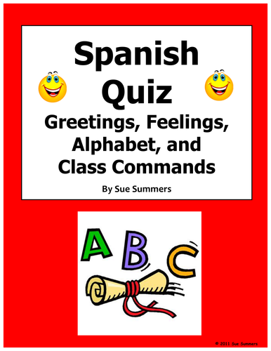 Spanish greetings feelings alphabet and class commands quiz or spanish greetings feelings alphabet and class commands quiz or worksheet by suesummersshop teaching resources tes m4hsunfo