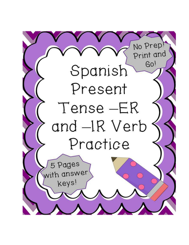 Spanish Present Tense -ER and -IR Verbs Conjugation Practice by ...