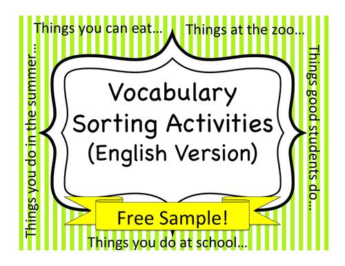 Vocabulary Sorting Activities - Free Sample