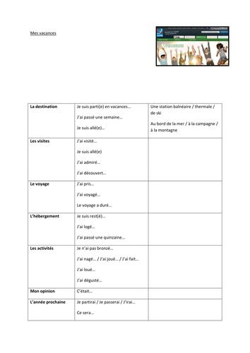 Holidays / Les vacances - GCSE Writing Frame