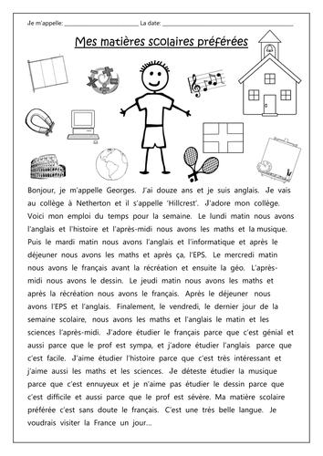 FRENCH - School Subjects - Mes matières scolaires préférées - Worksheets