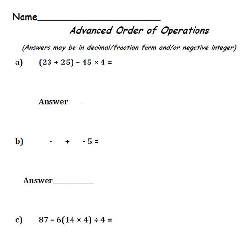Order Of Operations Basic To Advanced By Moedonnelly