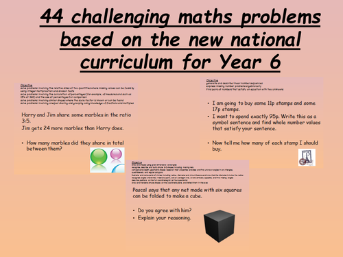 44 challenging year 6 maths problems - new curriculum