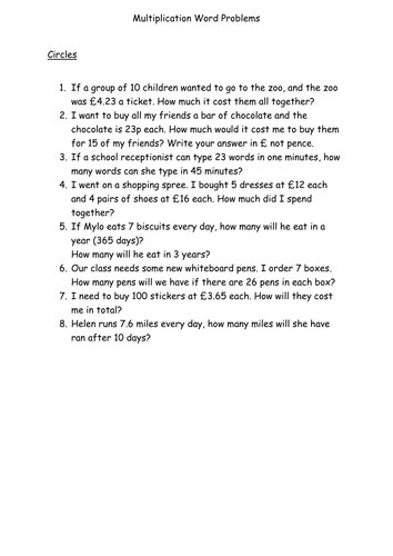 1 and 2 step multiplication word problems for year 5 by ...