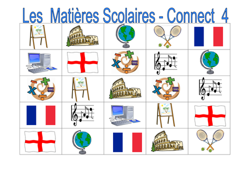french spanish german school subjects connect 4 by labellaroma teaching resources. Black Bedroom Furniture Sets. Home Design Ideas