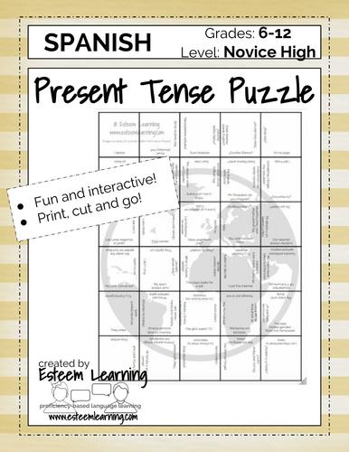 Spanish Present Tense Puzzle Game
