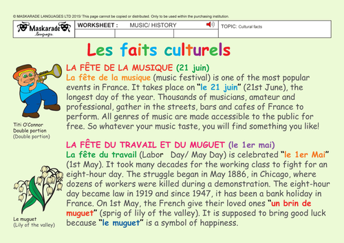FRENCH - Intercultural understanding - Any grade
