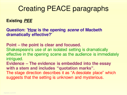 literature macbeth shakespeare peace paragraph for gcse  literature macbeth shakespeare peace paragraph for gcse english 2017 by englishabc1 teaching resources tes
