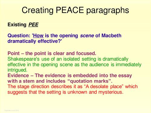Literature: Macbeth - Shakespeare - PEACE paragraph for GCSE English 2017