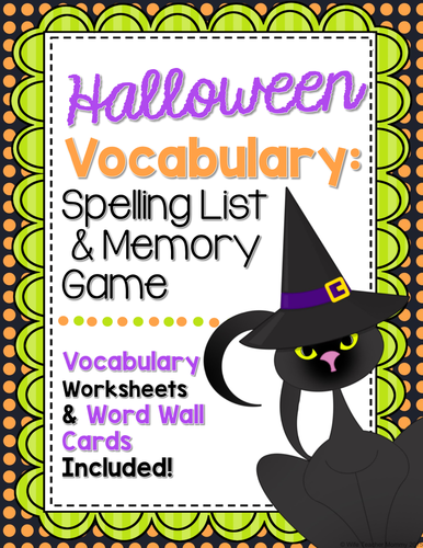 Halloween Vocabulary Spelling Memory Game. Spelling, Worksheets, Word Wall Cards