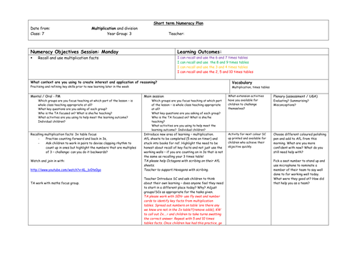multiplication and division planning and work sheets y3