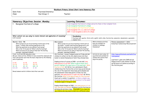 Fractions and statistics planning inc worksheet