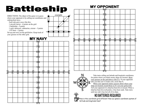 A Latitude and Longitude Battleship Game by
