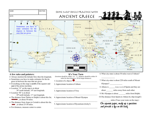 Worksheet Ancient Greece Latitude Longitude Questions Map by – Map Skills Worksheets Middle School