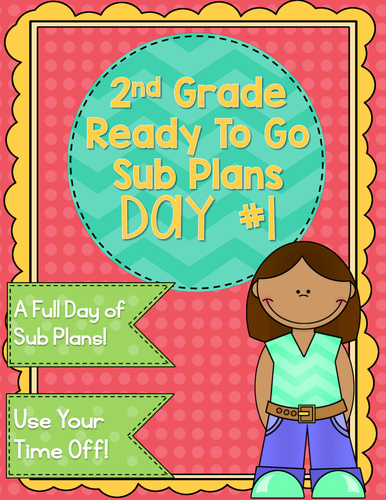 2nd Grade Sub Plans Ready To Go for Substitute. No Prep. One full day.