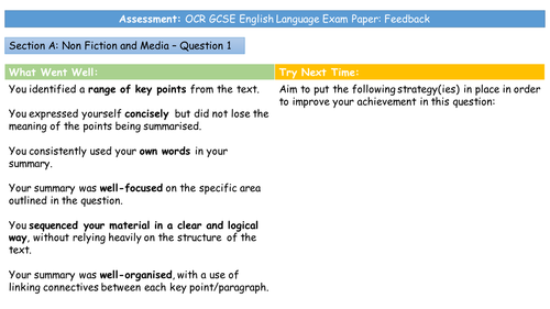 OCR GCSE English Language Exam Paper: Feedback Sheets (H Tier)