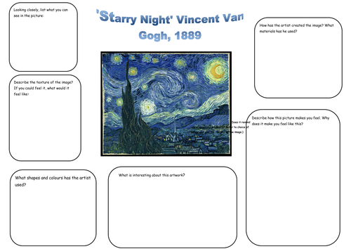 Van Gogh Starry Night Analysis worksheet by g3ml3w1522 Teaching – Art Analysis Worksheet